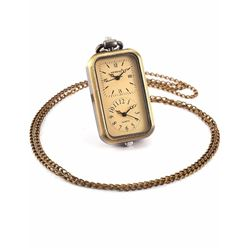 Ladies Brass Dual Time Oblong Pocket Watch Pendant Necklace