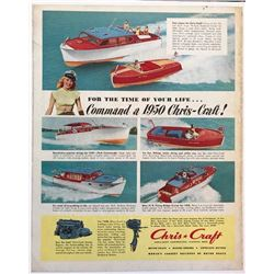 1950 Chris Craft Marine Boats Magazine Advertisement