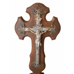Antique French Hand Carved Walnut Cross Panel & Christ Crucifix