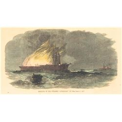 19thc Hand-colored Engraving, Civil War Steamship