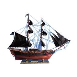 """Wooden Caribbean Pirate Ship Model Limited 37"""" - Black Sails"""