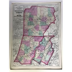 Early Color Atlas of Pennsylvania: Counties of Clearfield, Cambria and Blair – 1872