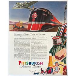 1941 Pittsburgh Paint Toys Trains Tractors Magazine Ad