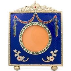 """Faberge Inspired 5"""" Faberge Square Blue Enameled Guilloche Russian Antique Style Picture Frame"""