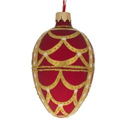 """Faberge Inspired 4"""" Gold Arches On Red Egg Glass Christmas Ornament"""