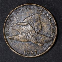 1857 FLYING EAGLE CENT, XF a little dark