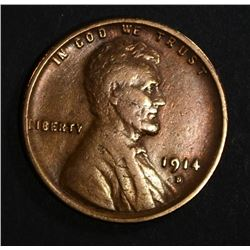 1914-D LINCOLN CENT, FINE KEY DATE