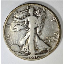 1938-D WALKING LIBERTY HALF DOLLAR, FINE KEY