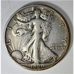 1929-D WALKING LIBERTY HALF DOLLAR, VF/XF