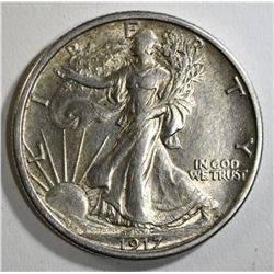 1917 WALKING LIBERTY HALF DOLLAR, AU/UNC