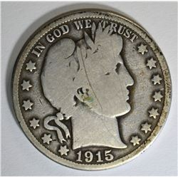 1915 BARBER HALF DOLLAR, G/VG KEY DATE