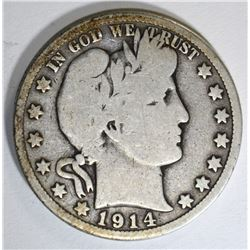 1914 BARBER HALF DOLLAR, G/VG KEY DATE