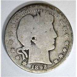 1892-O BARBER HALF DOLLAR, AG/GOOD