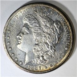 1887-S MORGAN DOLLAR, AU/UNC