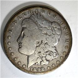 1892-CC MORGAN DOLLAR, VG+ KEY DATE COIN