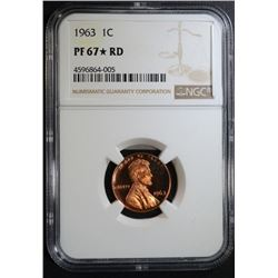 1963 LINCOLN CENT, NGC PF-67* RD