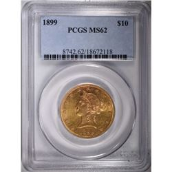 1899 $10 GOLD LIBERTY PCGS MS62