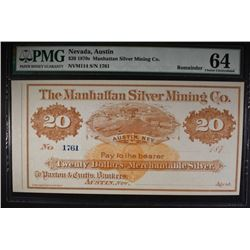 1870's $20 MANHATTAN SILVER MINING CO.