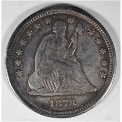 1878-CC SEATED LIBERTY QUARTER  CH BU