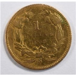 1859-S $1 GOLD INDIAN PRINCESS HEAD