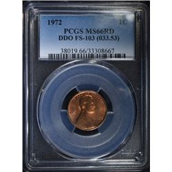 1972 LINCOLN CENT PCGS MS66RD DDO