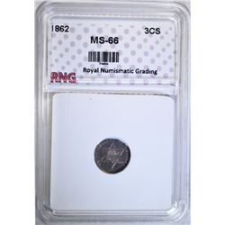 1862 THREE CENT SILVER RNG SUPERB GEM