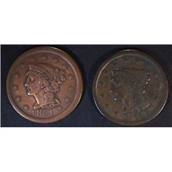 1848 VF & 1851 VF LARGE CENTS
