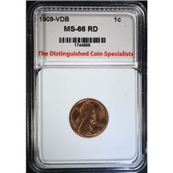 1909 VDB LINCOLN CENT, TDCS SUPERB GEM BU RED