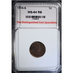 1916-S LINCOLN CENT, TDCS CH/GEM BU RB