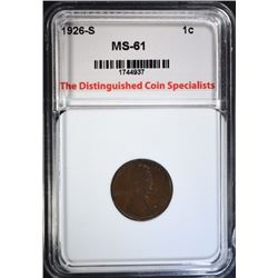 1926-S LINCOLN CENT, TDCS UNC