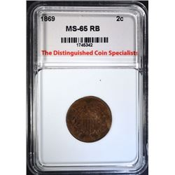 1869 2-CENT PIECE, TDCS GEM BU RB