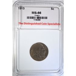 1913 TYPE-1 BUFFALO NICKEL, TDCS SUPERB GEM BU