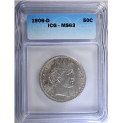 1906-D BARBER HALF DOLLAR, ICG MS-63