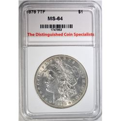 1878 7TF MORGAN DOLLAR, TDCS  CH/GEM BU