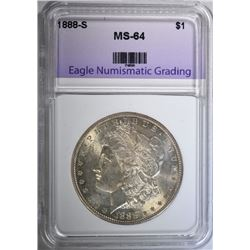 1888-S MORGAN DOLLAR, ENG CH/GEM BU