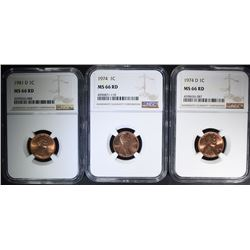 1974, 1974-D, 1981-D LINCOLN CENTS NGC