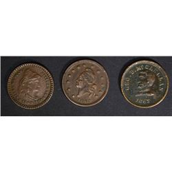 3-PATRIOTIC CIVIL WAR TOKENS: ARMY & NAVY