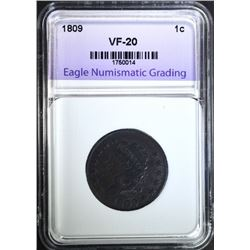 1809 LARGE CENT, ENG VF nice