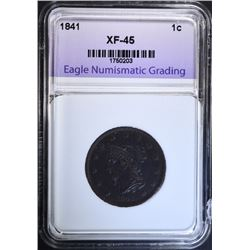 1841 LARGE CENT, ENG XF/AU