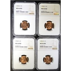1945-D, 46-D, 54-S & 55-D LINCOLN CENTS NGC MS-66