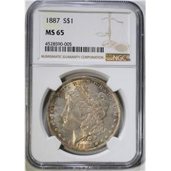 1887 MORGAN DOLLAR NGC MS65