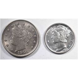 1901 LIBERTY NICKEL & 1918-D MERCURY DIME AU/BU