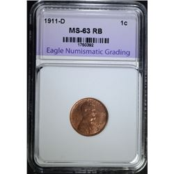 1911-D LINCOLN CENT, ENG CH BU RB
