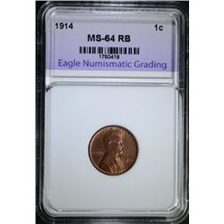 1914 LINCOLN CENT, ENG CH/GEM BU RB