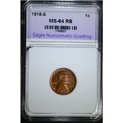 1918-S LINCOLN CENT, ENG CH/GEM BU RB
