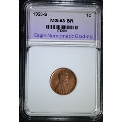 1920-S LINCOLN CENT, ENG CH BU BR