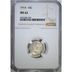 1914 BARBER DIME, NGC MS-62