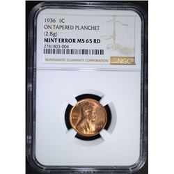 1936 MINT ERROR LINCOLN CENT, NGC MS-65 RED