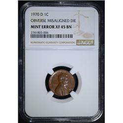 1970-D MINT ERROR LINCOLN CENT, NGC XF-45 BN