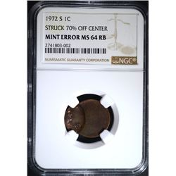 1972-S MINT ERROR LINCOLN CENT, NGC MS-64 RB